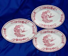 3 Vintage Jackson China Restaurant Ware Red Hummingbird Small Oval Platters EUC