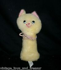 "7"" VINTAGE EDEN YELLOW PINK KITTY CAT BABY RATTLE STUFFED ANIMAL PLUSH TOY LOVEY"