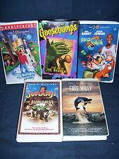 Children's Movie VHS Lot Willy Wonka Space Jam Free Willy Jumanji Goosbumps