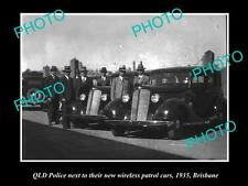 OLD LARGE PHOTO OF THE QLD POLICE WITH THEIR WIRELESS PATROL CARS, 1935 BRISBANE