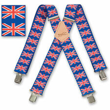 "Brimarc Mens Braces Heavy Duty Suspenders 2"" 50mm Wide Union Jack Braces"