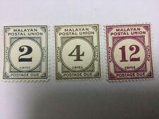 Malaya Malaysia Malayan Postal Union 3 Postage Due MH