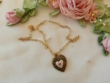 Guilloche Heart Drop Necklace ~Vintage Doll Jewelry