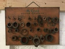VinTaGE 1920's MCCORD MOTOR GASKET WALL DISPLAY w PRODUCT Gas Oil GARAGE Shop