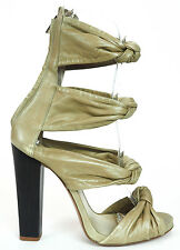 Etro Strappy Olive Soft Leather Zip Up Ankle Strap Sandals Heels 40 US 9.5 $600