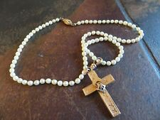 Antique Victorian Seed-Pearl Pink Rolled Gold Enamel Cross w/Hook  Necklace