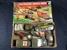 Cragstan Friction Tin Toy Military Vehicle Set With Box Vintage Japan
