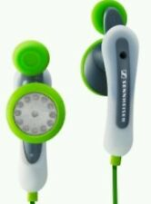 Sennheiser MX75 SPORTS Twist-to-Fit headphones in green. Jogging gym exercise