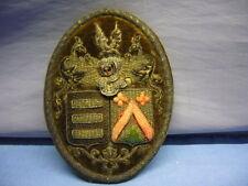 schönes altes Regimentsabzeichen mit Silberfäden aufwendig bestickt Wappen (52)