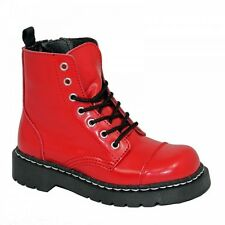 Anarchic by T.U.K. T2182 Red Leather Combat Ankle Boots Women's US 5, EU 36 NEW