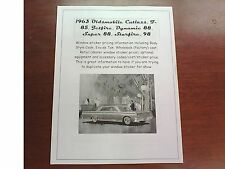 1963 Oldsmobile all-model factory cost/dealer sticker pricing for base+options $