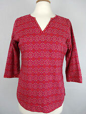 ANOKHI Womens Med Tunic Top Cotton Pink Floral V-Neck Flowers