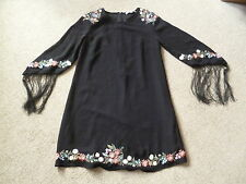 BNWOT KATE MOSS BLACK DRESS,10, FLORAL EMBROIDERY, FRINGED  SLEEVES  TOPSHOP