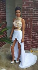 White and Gold 2 Piece Prom Dresses 2016 High Neck Beaded Crystal Party Gowns