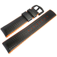 22mm Hirsch Performance Ayrton Black Carbon Orange Rubber PVD Watch Band Strap