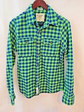 Abercrombie & Fitch A&F Mens Flannel Shirt Muscle Fit Plaid Cotton Size S Neon