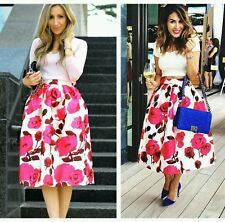 Celeb White Satin Flower Print Midi Skirt Party Towie Size 10 BNWT FF Boutique