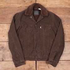 "Mens Vintage Levis Fur Lined Sherpa Brown Corduroy Jacket XS 34"" R3380"