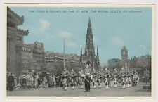 Midlothian postcard - The Pipes & Drums of 1st Btn, Royal Scots, Edinburgh