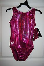 GK Elite Gymnastics Leotard -Adult  Medium - Sangria/White Sparkle