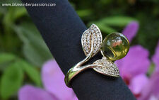 GAR120 - Dominican Amber Green Sphere on 925 Silver Ring