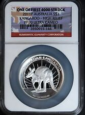 2011-P $1 High Relief Australia Kangaroo Silver PF 70 Coin with COA Proof