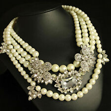 Costume Necklace Short Silver Multi Row White Pearl Vintage Wedding 3 in 1 FUN3