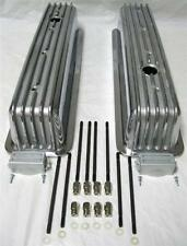 Small Block Chevy Polished Aluminum Center Bolt Tall Finned Valve Covers SBC 305