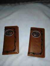 2 Men's Wallets Check book with HORSE and Cross Praying Cowboy #727 Coffee Color
