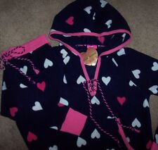 NWT Betsey Johnson Navy/Pink HEARTS Hoodie STRETCH Fleece Pajamas/Lounge Set L