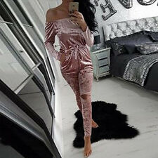 Women Warm Crushed Velvet Playsuit Cocktai Evening Party Mini Dress Casual Suit