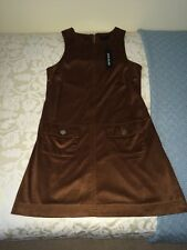 River Island Size 10 Chocolate Brown Suede Pinafore Dress. Brand-New With Tags