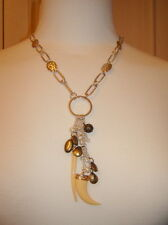 Mikey Silver tone necklace with multi claw type pendants