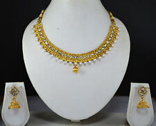 Indian Jewelry Bollywood New women Necklace Set Crystal Cz Gold Ethnic Pendant 6