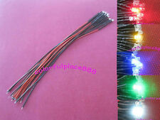 50pcs 3mm Red Yellow Blue Green White 9V 12V DC Pre-Wired Water Clear LED 18CM
