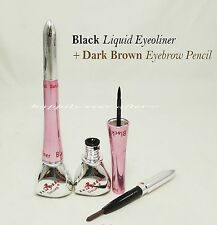 1 PC Italia Deluxe Black Liquid Eyeliner + Dark Brown Eyebrow Pencil