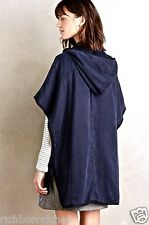 NWT Anthropologie navy blue Hei Hei Hooded Utility Cape Poncho Jacket XS/S $188