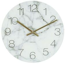 Large Retro Vintage 80s Modern Chic Karlsson Marble Black Kitchen New Wall Clock