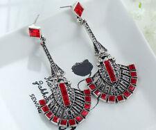 1 Pair Elegant Red Crystal Rhinestone  Ear Drop Dangle Stud long  Earrings 91