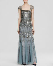 Adrianna Papell Slate Blue Cap Sleeve Beaded Embellished Gown - NWT Size 4 $395