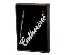 "Name Necklace ""CATHERINE"" - 18ct White Gold Plated - Swarovski Element - Wedding"