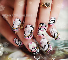 24pcs Party 3D Wedding False Artificial Fake Nails Tips French Gorgeous  Finger