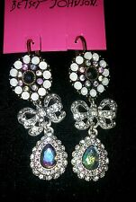NWT BETSEY JOHNSON FANCY BOW AND CRYSTAL DANGLE LEVER BACK EARRINGS STEAM PUNK