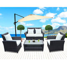 4 Pcs New Outdoor Gradient Brown Patio Wicker Sofa Sets Chairs Furniture Lounge