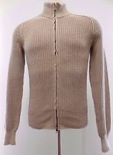 BANANA Republic SMALL Linen SWEATER Full ZIP Mens BEIGE Thick CHUNKY Ribbed S Sz
