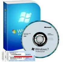 Windows 7 pro professional 64Bit SP1 - 1 coa license key-hologramme dvd
