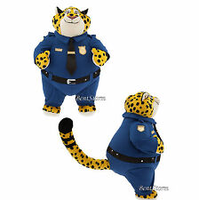 Zootopia Officer Clawhauser Cheetah Plush Soft Toy Doll 13 1/2 Disney Store NEW