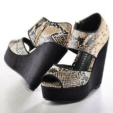 "ROCK & REPUBLIC SNAKE PEEP TOE PLATFORM ""DYLAN"" WEDGES"