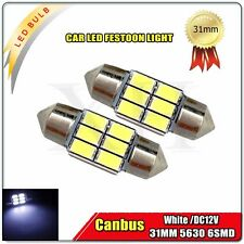 2x White 31MM 5630 6 LED Festoon Light Dome Canbus Lamp Map Interior Bulb 30922