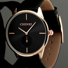 New Mens Ladies Quartz Wrist Black Strap Leather Gold Analog Date Watch Slim